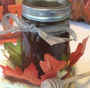 healthier caramel sauce bottle with leaves